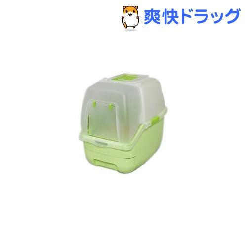 アイリス 楽ちん猫トイレ フード付きセット グリーン(1セット)[ペット用品]【送料無料】