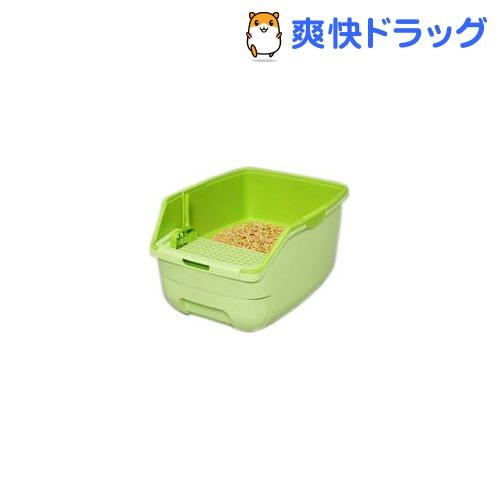 アイリス 楽ちん猫トイレ フードなしセット グリーン(1セット)[ペット用品]【送料無料】