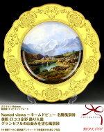 古マイセン最高峰ネームドビュー名勝風景図グランゼブルの山並みを望む風景図黄肌ロココ金彩飾り皿アンティーク参考200万円meissen