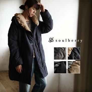 コート M/L/LL/3Lサイズ こだわりの襟で、寒い日もマフラーいらずの暖かさ。バイカラーボリューム襟中綿コートレディース/アウター/キルティング/配色/ロング/ミディアム丈/長袖soulberryオリジナル