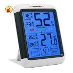 ThermoProデジタル湿度計温度計室内最高最低温湿度表示LCD大画面温湿度計タッチスクリーンとバックライト機能あり置き掛け両用タイプTP55