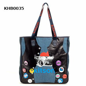 【KITSON】DENIMBULETOTOBAGKHB0035WOMEN'S【キットソン】缶バッジ付きデニムブル−ト−トバッグKHB0035(アクセサリー女性用)
