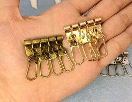 ★●ナスカンKA厚縦39mm尾内径9mm厚7mm真鍮古美10個入り