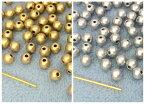 〇〇樹脂ビーズ 両穴 マット感 直径4mm 6g入り 約215個 マットシルバー マットゴールド