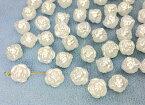 〇〇樹脂ビーズ 薔薇 A 12g入り 22個 直径11mm パール白 バラ 両穴 beads