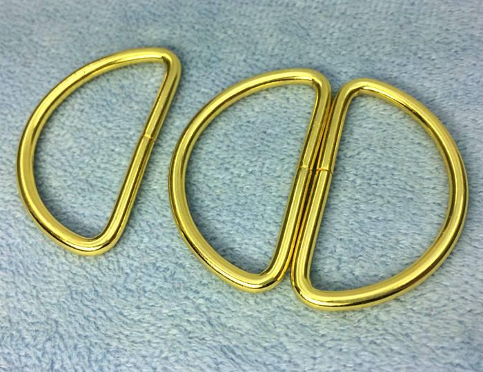 1041● クラフト金具 Dカン 内径38mm 線径3mm 10個入り ゴールド 鉄製 D環