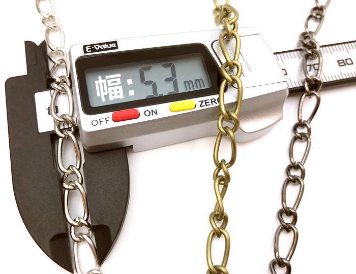 ◆チェーン F デザイン 幅5mm 120cm 線径1.2mm 持ち手 ショルダー用 chain パーツ 1.2メートル