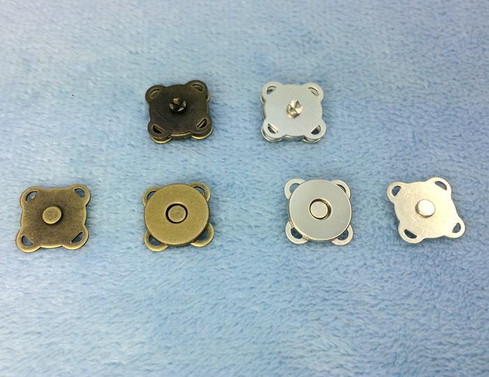 1361● マグネットホック 縫い付けタイプ 直径(外径)10mm 10個入り アンティークゴールド(真鍮古美) ニッケル 2色展開 マグネットボタン クラフト金具 四つカン