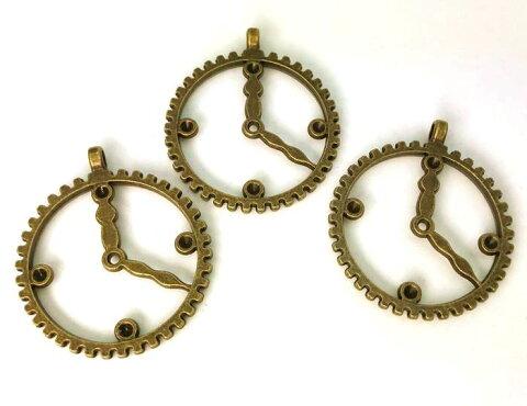 3161★ 金属チャーム 時計 K リング 大 5個入り アンティークゴールド(真鍮古美) 直径(外径)30mm 厚2.2mm (アンティークゴールド)