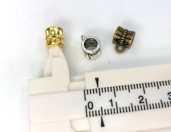 3444◆ 金具 スペーサービーズ B カン付 20個入り 丈7.5mm 通し穴4.8mm アンティークゴールド(真鍮古美) シルバー ゴールド 銀古美 連結 メタルパーツ