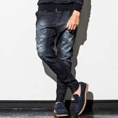 1PIU1UGUALE3RELAX(ウノピゥウノウグァーレトレ)裾ファスナー付カモフラージュ柄ジョグデニムパンツ(ダークインディゴ)メンズ/メンズファッション【あす楽】