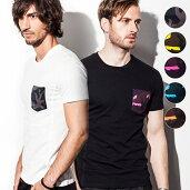 1PIU1UGUALE3RELAX(ウノピゥウノウグァーレトレ)カモフラージュ柄ポケット付Tシャツ(ブラック/イエロー/ピンク/ブルー/オレンジ)メンズ/メンズファッション/【あす楽】