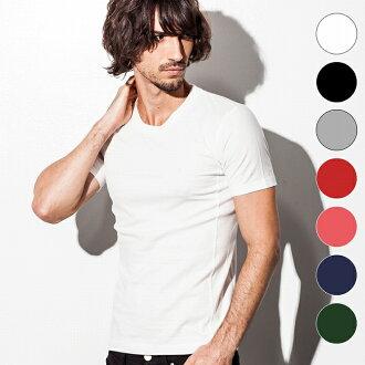 1PIU1UGUALE3 (unopiuunouguaaretore) 放鬆基本男裝時尚 U 領 t 恤 (白色 / 黑色 / 灰色 / 紅色 / 粉色 / 海軍/d 綠色) 日本造