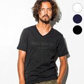 1PIU1UGUALE3RELAX(ウノピゥウノウグァーレトレ)刺繍ロゴVネックTシャツ(ホワイト/ネイビー/ブラック)