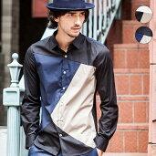 AKMContemporary(エイケイエムコンテンポラリー)カラーブロッキングシャツ(ホワイト/ブラック)MADEINJAPAN【RCP】【あす楽】【C】メンズ