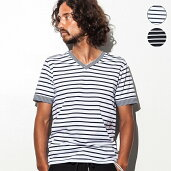 AKMContemporary(エイケイエムコンテンポラリー)ストレッチWボーダーVネックTシャツast-632w(ホワイト×ネイビー/ブラック×ホワイト)ast-632w/メンズ【RCP】【9月上旬発送/予約販売】【C】メンズ/メンズファッション