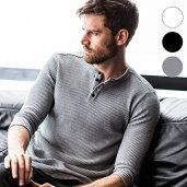 AKMContemporary(エイケイエムコンテンポラリー)ワッフルヘンリーTシャツ(ホワイト/グレー/ブラック)【あす楽】