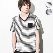 AKMContemporary(エイケイエムコンテンポラリー)ポケット付パイルボーダーTシャツ(ホワイト/ブラック)【あす楽】