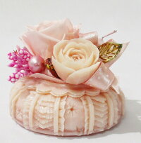 ソープカービングピンク花器アレンジ
