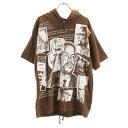 【中古】 マルコムエックス 90s  総柄 半袖 Tシャツ 茶 Malcom X 半袖パーカー メンズ 【200718】