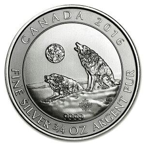 纯银狼硬币3/4盎司2016年制造加拿大皇家薄荷银狼