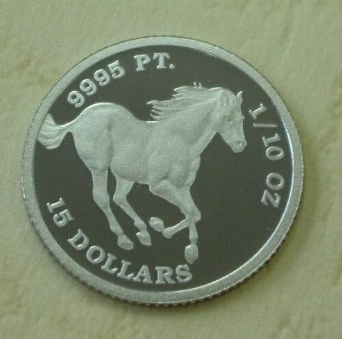 純プラチナ ツバルホース 馬 1/10オンス 2010年製 ツバル政府発行品位99.95 保...