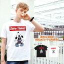 Tシャツ メンズ ディズニー ミッキー ティーシャツ プリント キャラクター ボックスロゴ Uネック ミッキーマウス MICKEY ユニセックス ペア 白 黒 半袖 おしゃれ ストリート ペアルック レディース お揃い