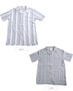 オープンカラーシャツ 開襟シャツ メンズ Men's  半袖 ストライプ 楊柳  開襟 シャツ Yシャツ カジュアル 夏 夏服 シンプル 大人
