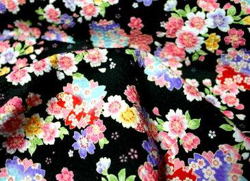 プリント リップル(ゆかた地)生地【桜チェリーブロッサム4/ブラック】《10cm単位(110cm幅)》※メール便は2m(20個)まで対応致します♪