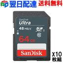 お買得10枚組 SDカード Ultra UHS-I SDXC カード 64GB【翌日配達送料無料】class10 SanDisk サンディスク 高速48MB/s パッケージ品