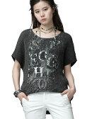 SPECCHIOスペッチオシャトルプリーツモノトーンプリントスパンコール刺繍テールカットブラウス