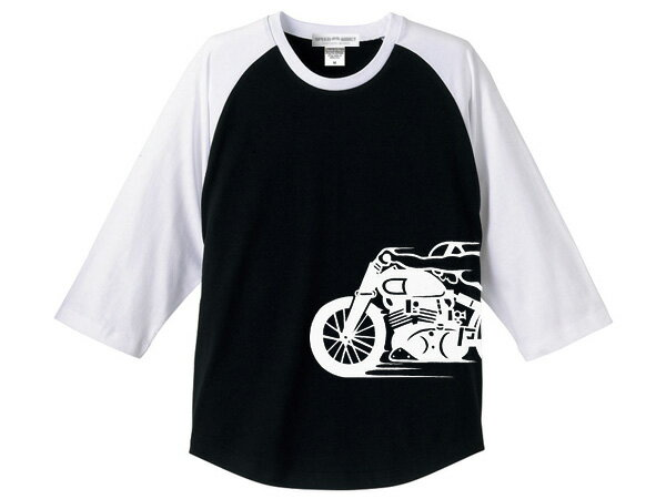 トップス, Tシャツ・カットソー  Raglan 34 Sleeves T-shirtSPEED ADDICT34TBLACK WHITE teetriumphbsanortonducati