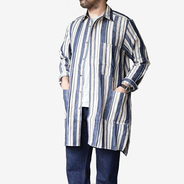 トップス, カジュアルシャツ NIGEL CABOURN SLEEP SHIRT LINEN STRIPE NAVY STRIPE MAIN LINE