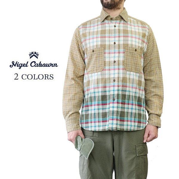 トップス, カジュアルシャツ NIGEL CABOURN 1930s BRITISH ARMY SHIRT OZONE BLEACH CHECK 2 COLORS MAIN LINE