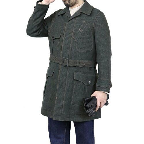 メンズファッション, コート・ジャケット FREEWHEELERS ORVILLE 1910-1920s OVERCOAT GRAINED TWEED GRAINED KHAKI BLACK GREEN