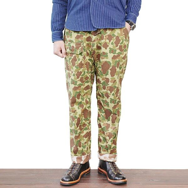 メンズファッション, ズボン・パンツ FREEWHEELERS FIELDWORKER TROUSERS 1940 - 1950s CIVILIAN MILITARY STYLE CLOTHING HERRINGBONE REVERSIBLE CAMO USMC PRINT DUCK HUNTER