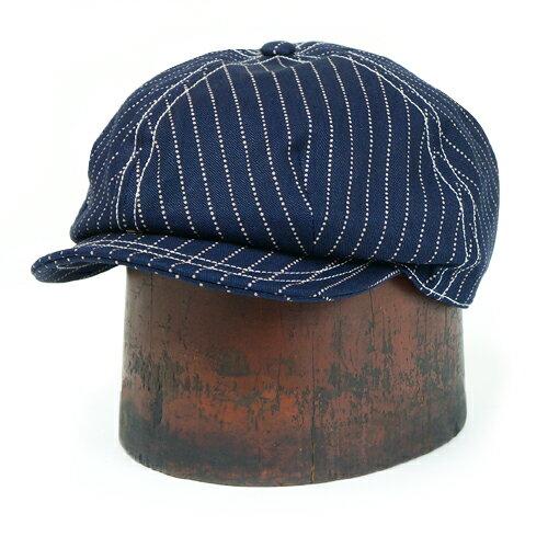 メンズ帽子, ハンチング・キャスケット FREEWHEELERS CASSADY 4 PANELS CAP 1910 - 1920s STYLE CAP INDIGO WABASH STRIPE