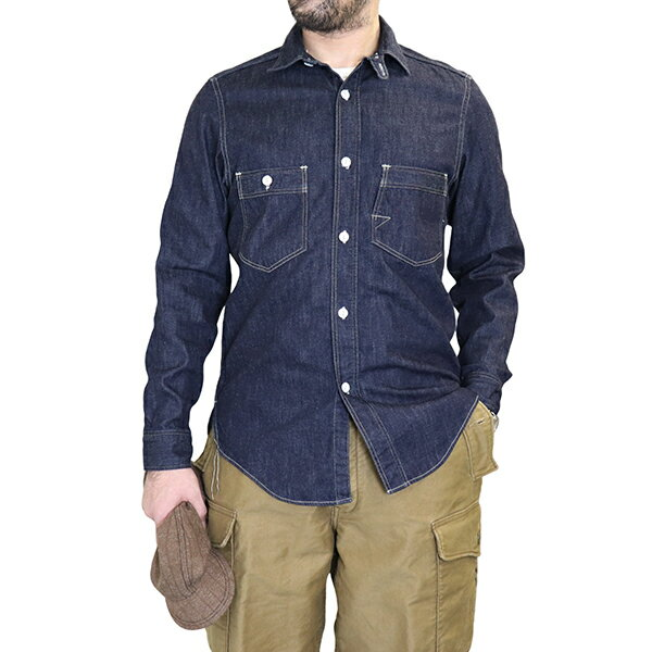 トップス, カジュアルシャツ FREEWHEELERS ENGINEER SHIRT 1920 - 1930s STYLE WORK SHIRT 8oz INDIGO DENIM