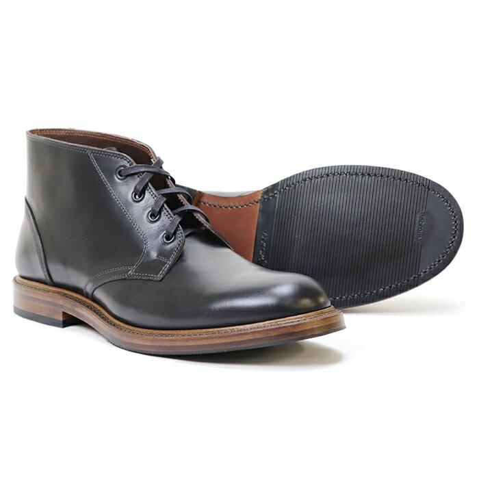 ブーツ, チャッカ JOHN LOFGREN BOOTMAKER THE STEADFAST CHUKKA BOOTS BLACK CALFSKIN MADE IN JAPAN