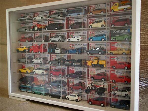 ホワイト枠×アクリル棚 トミカ最大96台オリジナルハウス製コレクションケース