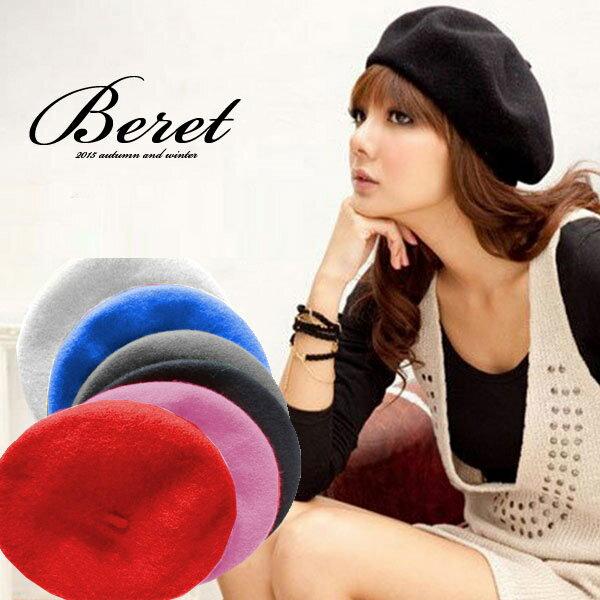 ウールベレー帽/新品ベレーふわふわキャップ帽子レディースフリーサイズ(帽子16)
