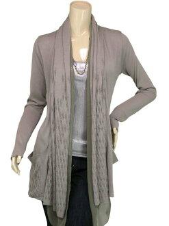 SPLASH FAST [スプラッシュファースト] watermark pattern x chiffon collar long knit Cardigan