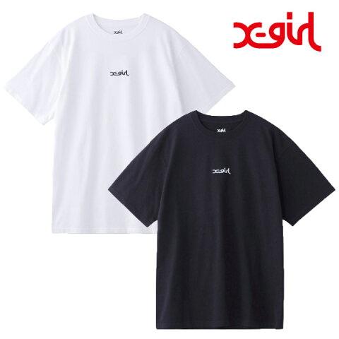エックスガール X-girl Tシャツ レディース カットソー 半袖tシャツ EMBROIDERED MILLS LOGO S/S TEE 105201011006