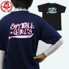 SoftballGirlsロゴTシャツソフトボール塁球Tシャツ半袖ジュニア用中学生高校生大人文字Tシャツ文字入り野球Tシャツ