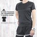 【ポイント10倍 4/14〜16】アディダス adidas レディース Tシャツ 半袖 W D2M トレーニング 定番半袖ワンポイントTシャツ ルーズ BK2707 BK2708