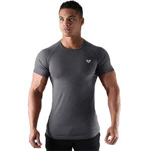 メンズ 半袖 tシャツ 速乾性 ボディフィット ワイルドカットソー細身 フィットネス トレーニングウェア ロゴ 筋トレ スポーツ おしゃれDT-02