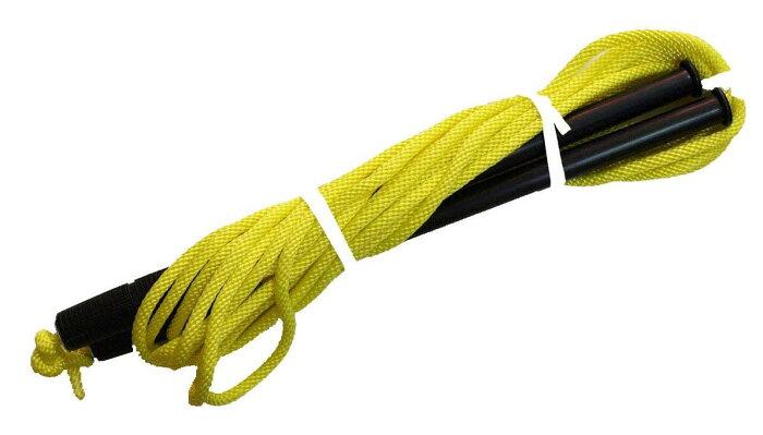 アルミグリップ付蛍光色カラーロープ グループジャンプロープ(チームジャンプ) 黄 10m 9333Y 運動 冬 学校体育 長縄