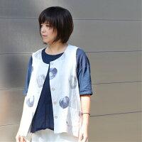 スポットnineteenbloomナインティーンブルーム日本製京染めインクジェットプリント手書き風チュニック春夏ゆったりLLサイズ