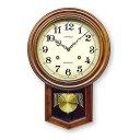 あす楽送料無料さんてる アンティーク 電波振り子掛時計DQL623丸型アンティークブラウン昭和レトロ振り子時計ウォールクロック電波時計壁掛け時計柱時計日本製