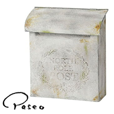 Paseo パセオ アンティークポスト 47-01WH スチールポスト 郵便受け 壁掛け カントリー ガーデニング